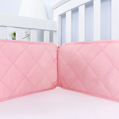 Pink Crib Bumper for Girls Baby Gift Toddler Bedding Pad Protector 4PCs 52