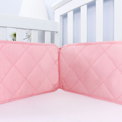 """Pink Crib Bumper for Girls Baby Gift Toddler Bedding Pad Protector 4PCs 52""""x28"""""""