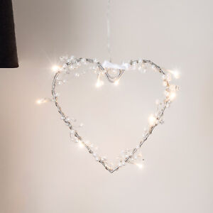 Battery Operated Warm White LED Fairy Light Hanging Heart Wreath Decoration
