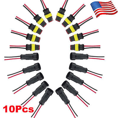 10 Set 2 Pins Car Waterproof Electrical Connector Plug with 20AWG Wire Marine