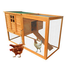 "66""x44""x40"" Wood Chicken Coop Rabbit Hutch w/ Nesting Box Outdoor Run Backyard"