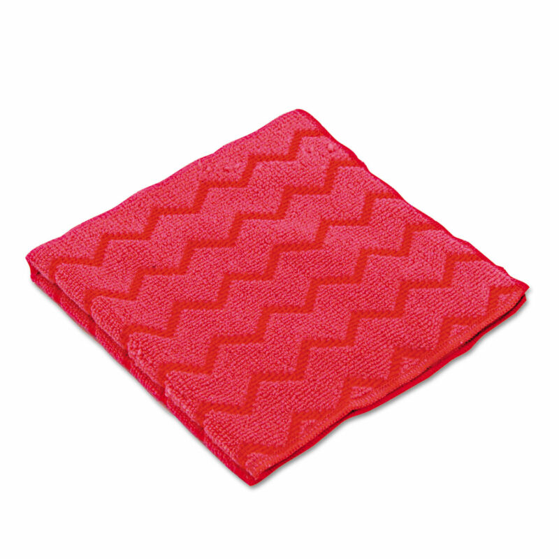 Rubbermaid Commercial HYGEN Microfiber Cleaning Cloths 16 x 16 Red 12/Carton