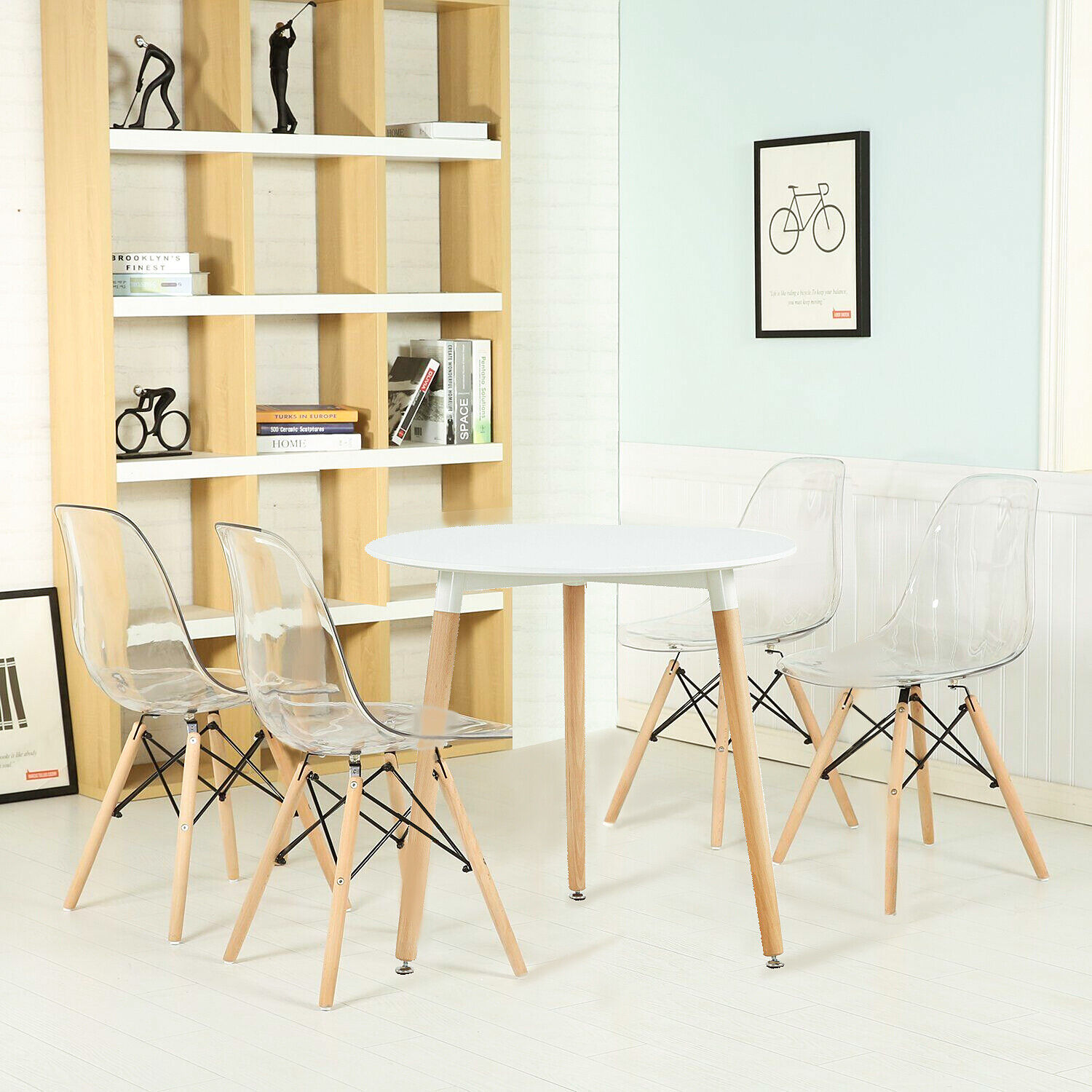 Details About Eggree 80cm Round Wood Dining Table And 4 Chairs Set In Transpa Chair