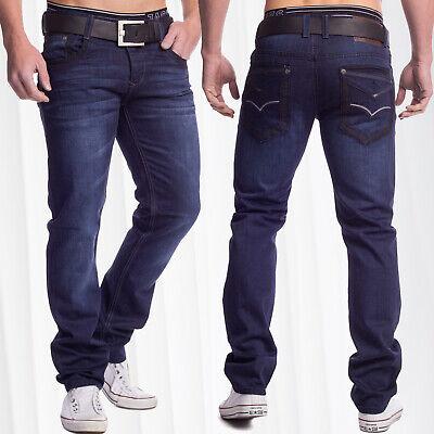 Herren Indigo Jeans dunkelblau Regular Fit Five Pocket stonewashed Capo - Regular Fit Stone Washed Jean