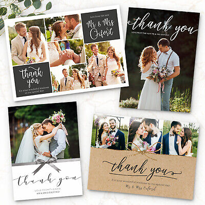 Personalised Wedding Thank You Cards Free Envelopes Your Photos Postcard](Photo Thank You Cards Wedding)