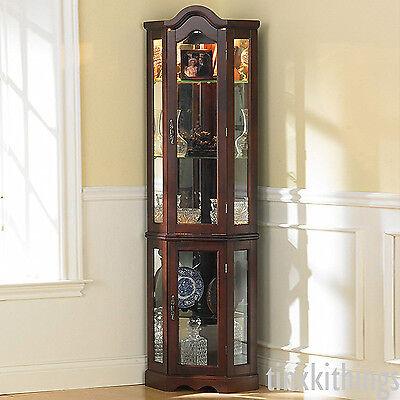 Tall Corner Glass Cabinet Shelves Storage Living Room Display Organizer w Light