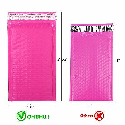 50pcs Envelopes 4x8in Poly Bubble Mailer Pink Self Seal Padded Lightweight](Bubbles In Bulk)