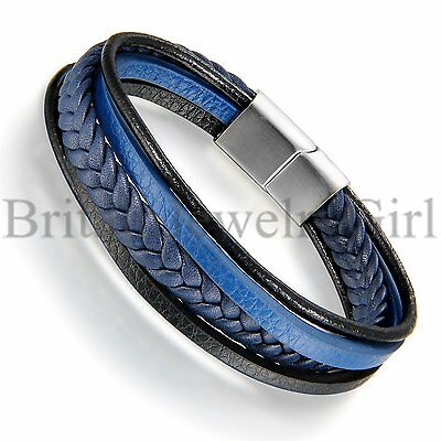 "8.5"" Mens Blue Leather Wheat Braided Stainless Steel Clasp Bracelet*11MM"
