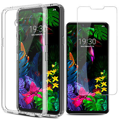 For LG G8 ThinQ Shockproof Hybrid Crystal Clear Slim Case Cover+Screen Protector Clear Crystal Case Protector Cover