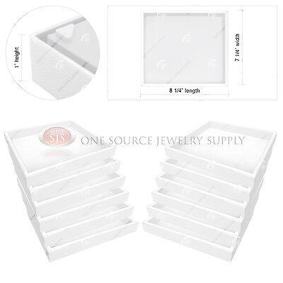 "12 Piece Stackable 1"" White Plastic Jewelry Display Half-Tray Storage Organizer"