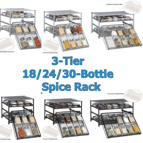 3-Tier Kitchen Storage Spice Rack Drawer 18/24/30 Pantry Cabinet Organizer