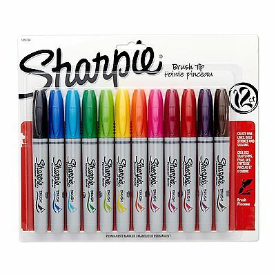 Sharpie Permanent Markers Brush Tip Assorted Colors 12 Pack New