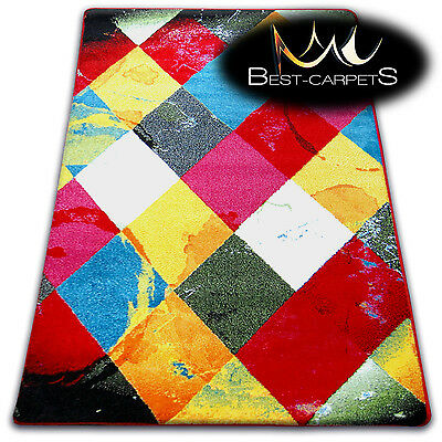 Thick MODERN RUGS 'PAINT' CARPETS ORIGINAL COLORFUL SQUARES For Kids