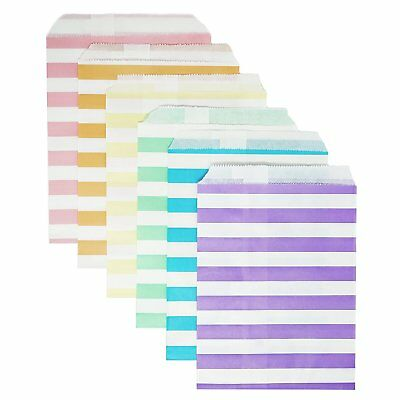 48 Pastel Rainbow Stripes Striped Food Candy Treat Party Favor Bags 5x7