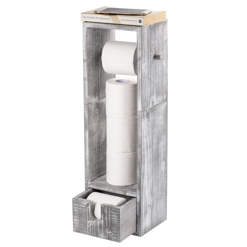 Standing Toilet Paper Holder Bathroom Storage Organizer Tissue Rack With Drawer