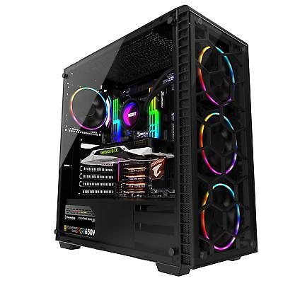 - Gaming Computer PC Case ATX Mid Tower 4 LED RGB Cooling Fans Desktop DIY 3.0 USB