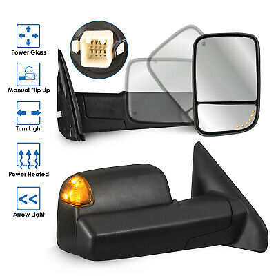 Towing Mirrors Power Heated Arrow Light for 02-08 Dodge Ram 1500 03-09 2500 3500