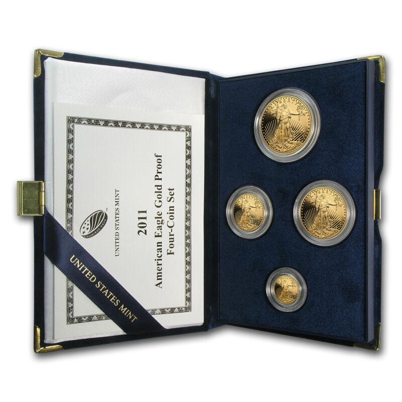2011-w 4-coin Proof Gold American Eagle Set (w/box & Coa) - Sku #62578