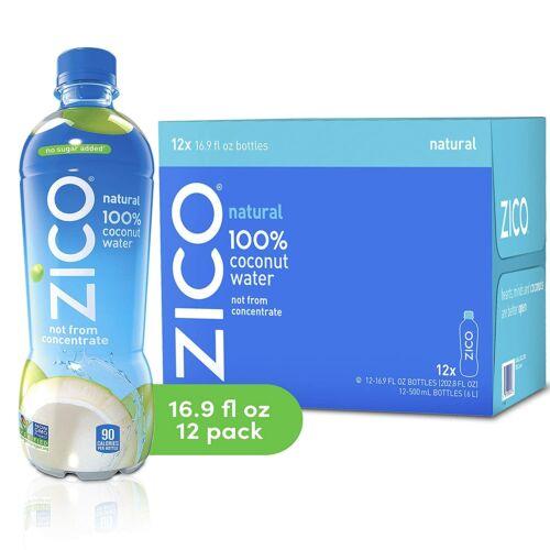 Zico Natural 100% Coconut Water Drink, No Sugar Added Gluten Free,16.9 Oz,12 Pcs