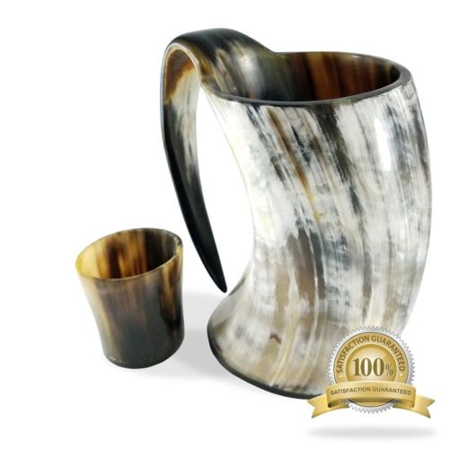 20 oz Viking Drinking Horn Ale Tankard With Free Horn Shot Glass