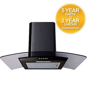 SIA CPL61BL 60cm Curved Glass Black Chimney Cooker Hood Extractor Fan