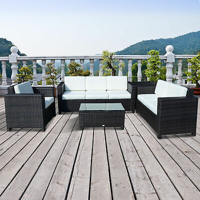 Garden Furniture - Outdoor Rattan Garden Patio Wicker Weave Furniture Table Sofa Chair Mixed Brown