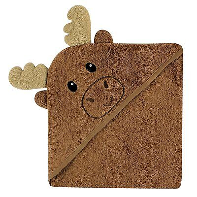Luvable Friends Animal Face Hooded Towel, Brown Moose 100% Cotton Terry