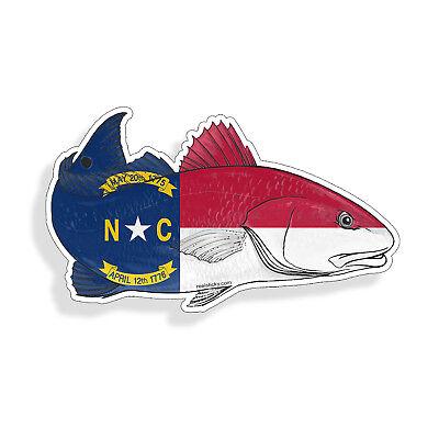 State Flag Bumper Sticker - North Carolina NC State Flag Red fish Sticker Cup Laptop Car Window Bumper Decal
