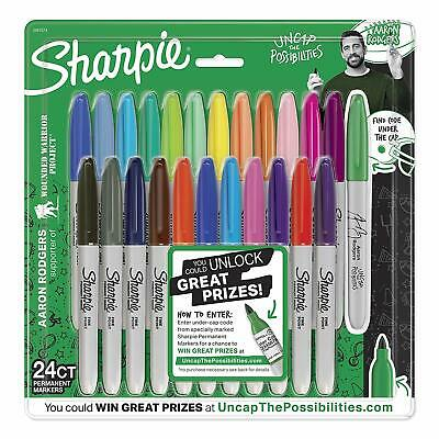 Sharpie Permanent Markers Fine Point Aaron Rodgers Assorted Colors 24-count