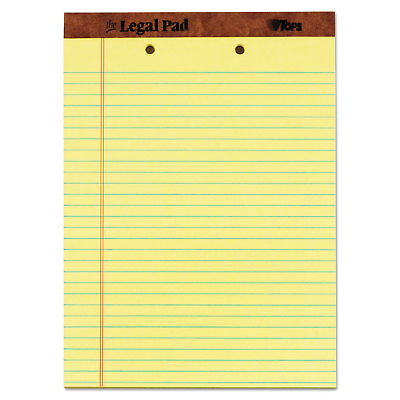 Tops The Legal Pad Ruled Perf Pad Legalwide 8 12 X 11 34 Canary 50 Sheets