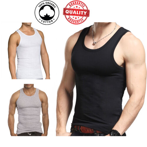 3 Pc Men 100% Cotton A-Shirt Tank Top Ribbed Undershirt Wife Beater Black Muscle