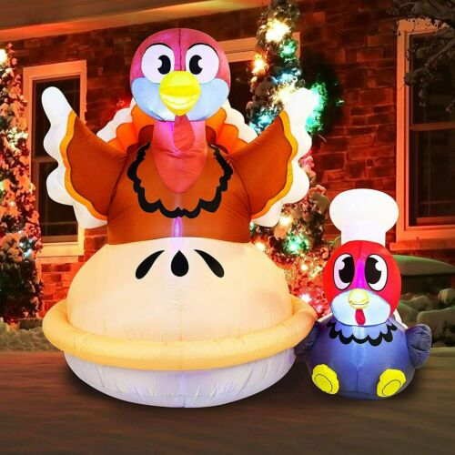 Joiedomi Thanksgiving Inflatable Decoration 6 FT Turkey on a Pumpkin Pie...