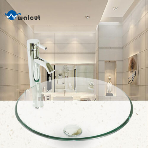 Round Tempered Glass Vessel Sink Bowl Bathroom Faucet& Pop-up Drain Combo Set