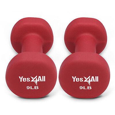 Yes4All 9 lb Dumbbell Weight Set with Non-Slip Grip - Neoprene Dumbbell Pair²2D
