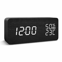 LED creative desk & table digital Wooden Alarm clock with temperature display