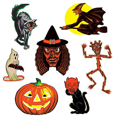 Vintage Halloween 7/PKG CLASSIC CUTOUTS Witch Devil Black Cat Ghost JOL Beistle](Halloween Cutouts Ghost)
