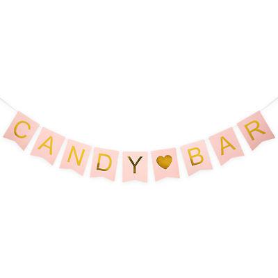 Candybar Girlande Banner für JGA Hochzeit Geburtstag Party Deko - Rosa und Gold