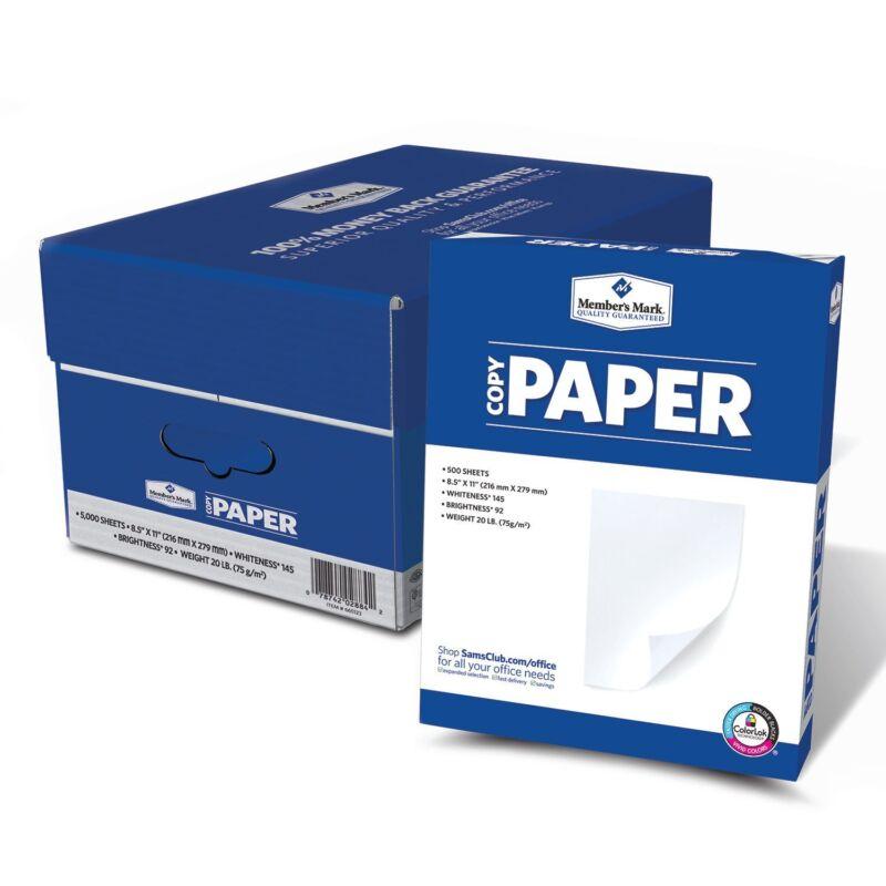 """New 5000 Sheets 20lb Copy Paper 92 Bright 8-1/2 x 11"""" 10 Ream Case"""