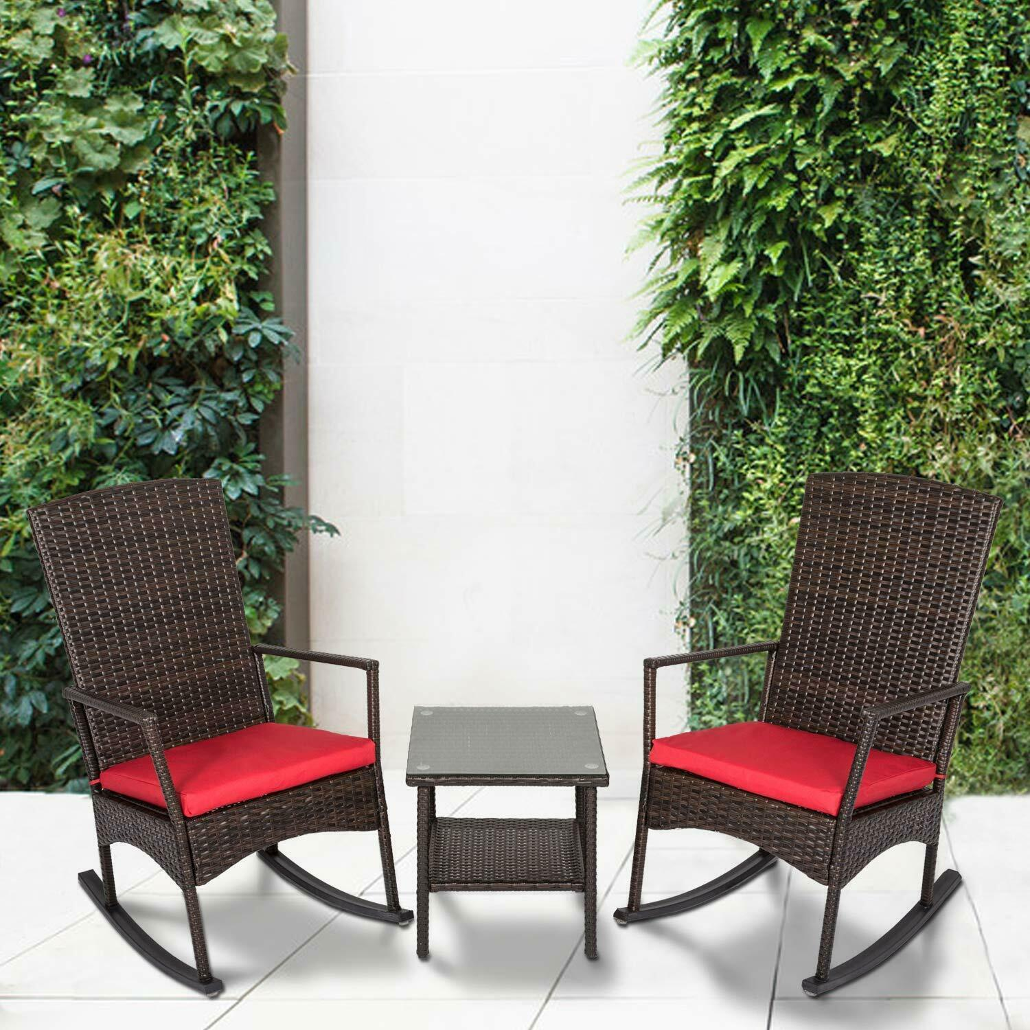 Garden Furniture - 3PCS Rattan Wicker Rocking Chair Set W/Cushions Patio Furniture Garden Yard Red