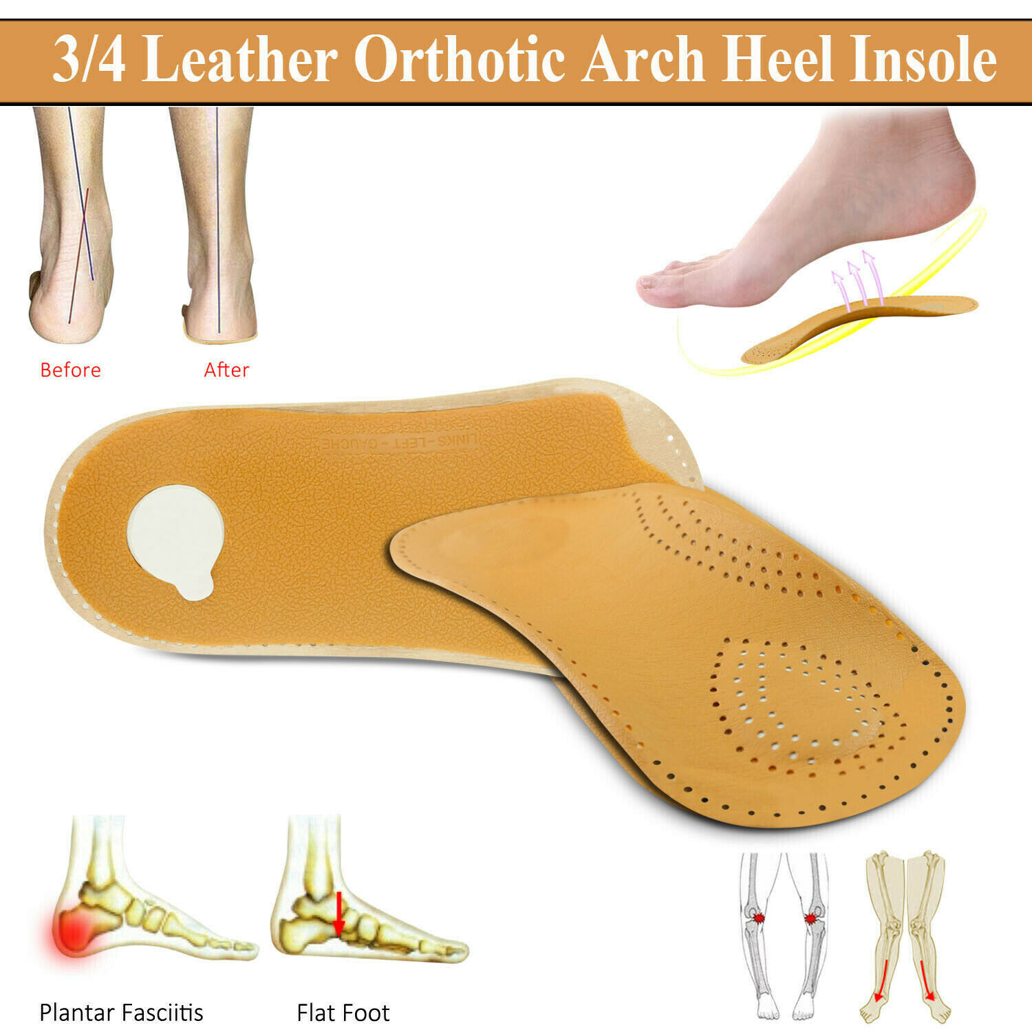 3/4 Leather Orthotic Arch Heel Support Insole Pads Flatfoot