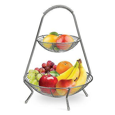 Tramontina  2 Tier Fruit Basket Stainless Steel Serving Rack Display Stand