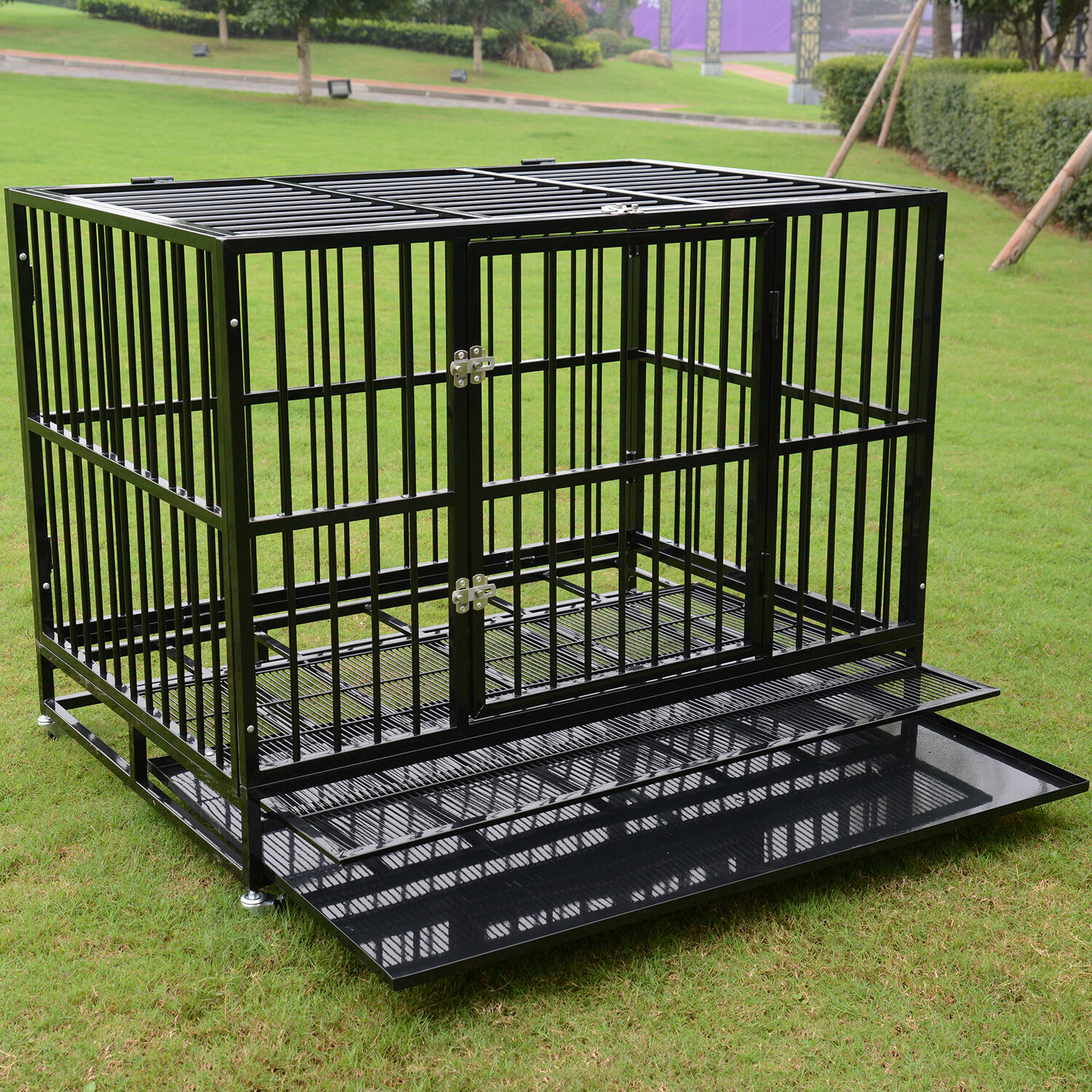 48 Black Heavy Duty Dog Crate Cage Pet Kennel Playpen