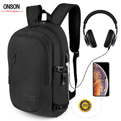 Anti Theft WaterProof Mens Backpack USB Charger Laptop School Casual Travel Bag