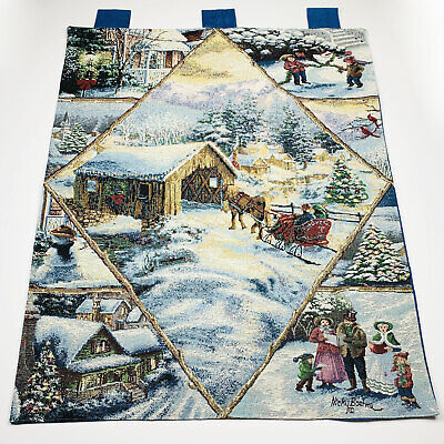 Winter Scenes Christmas Holiday Sleigh Ride Caroling Tapestry Wall Hanging - Christmas Wall Scenes