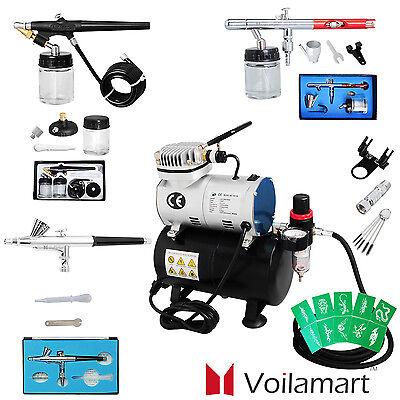 Voilamart Airbrush Kompressor Komplett Set 1/6 HP Tank 3 Pistole Airbrushpistole