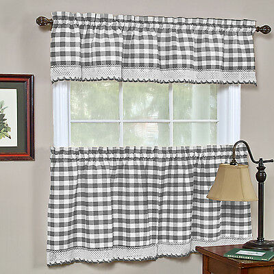 - Buffalo Check Gingham Kitchen Curtains Tiers or Valance - Gray