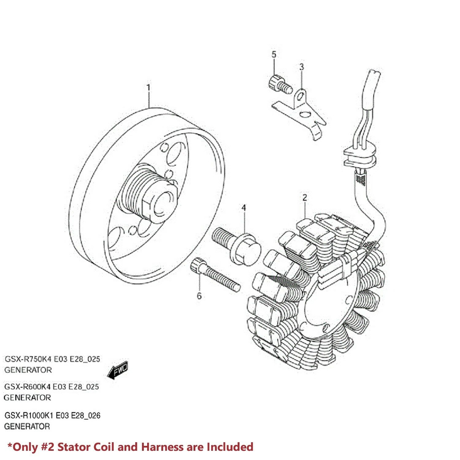 Emusa Oe Magneto Coil Stator Voltage Rectifier Gasket 03 05 Gsxr 600 1000 Color Wiring Diagram 750