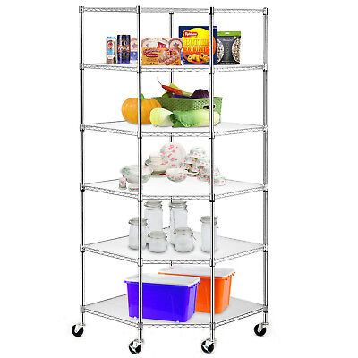 High Quality Wire Steel 6-tier Corner Shelf Garage Storage Shelving Rack Durable