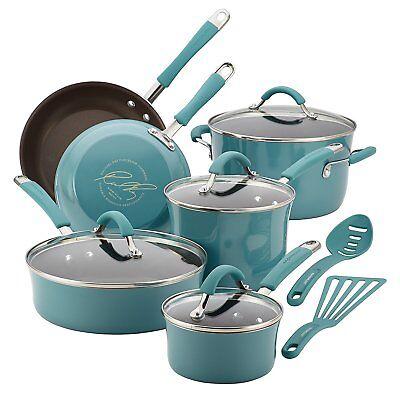 Rachael Ray Cucina Hard Porcelain Enamel Nonstick Cookware Set, 12Piece, Agave