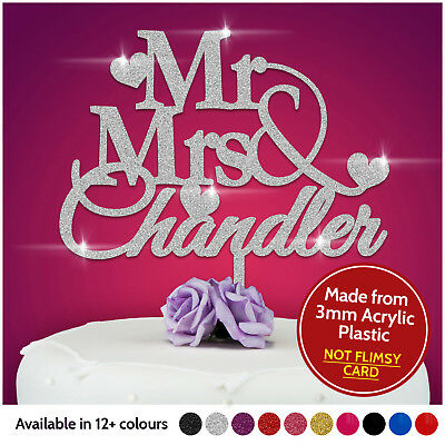 Personalised Wedding Mr & Mrs Heart Cake Topper Keepsake in Safe GLITTER Acrylic